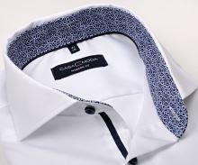 Koszula Casa Moda Modern Fit Twill – biała z niebiesko-białą wewnętrzną stójką i mankietem