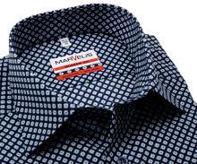 Koszula Marvelis Modern Fit - ciemnoniebieska z niebiesko-zielonymi kwadracikami - extra długi rękaw