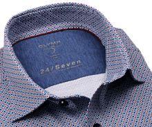 Koszula Olymp Level Five 24/Seven – luksusowa designerska elastyczna z czerwono-niebieskim wzorem