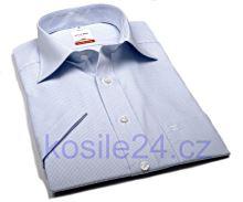 Koszula Olymp Modern Fit - w jasnoniebieską krateczkę - krótki rękaw