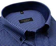 Koszula Eterna Comfort Fit – w niebieską kratkę z wewnętrznym kołnierzykiem i mankietem