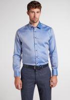 Koszula Eterna Modern Fit Twill – niebiesko-biała z wewnętrzną stójką, mankietem i plisą