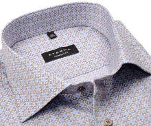 Koszula Eterna Comfort Fit Twill - luksusowa z jasnoniebieskimi i beżowymi ornamentami