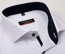 Koszula Eterna Modern Fit Cover - biała luksusowa i nieprześwitująca z granatową stójką - extra długi rękaw