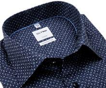Koszula Olymp Comfort Fit – ciemnoniebieska w białe kropki i delikatną siateczkę - extra długi rękaw
