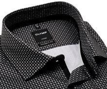 Koszula Olymp Modern Fit – ekskluzywna czarna z szarym wzorem, wewnętrzną plisą i mankietem