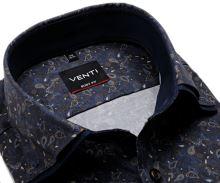 Koszula Venti Body Fit – ciemnoniebieska w brązowo-niebieski wzór paisley z podwójnym kołnierzem