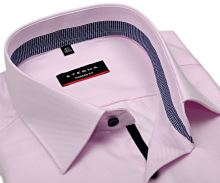 Koszula Eterna Modern Fit Twill – różowa z niebieskobiałym kołnierzykiem wewnętrznym