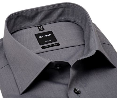 Koszula Olymp Luxor Modern Fit Fil a Fil - ciemnoszara - extra długi rękaw