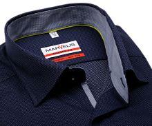 Koszula Marvelis Modern Fit – ciemnoniebieska w białe wyszyte prąźki i wewnętrzną stójką i plisą