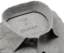 Koszula Olymp Level Five 24/Seven – szara elastyczna w jaśniejszą siateczkę