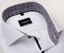 Koszula Venti Modern Fit Twill – biała z niebiesko-brązową wewnętrzną stójką i mankietem