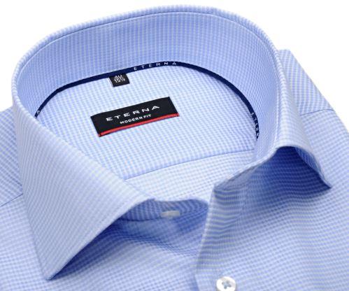 Koszula Eterna Modern Fit – biała w jasnoniebieski wzór - krótki rękaw