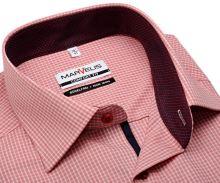 Koszula Marvelis Comfort Fit – w czerwoną krateczkę z wewnętrzną stójką - krótki rękaw