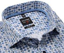 Koszula Olymp Level Five – ekskluzywna designerska w niebiesko-beżowy wzór - krótki rękaw