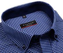 Koszula Eterna Modern Fit – w niebieską kratkę z wewnętrznym kołnierzykiem i mankietem - super długi rękaw