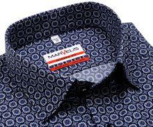 Koszula Marvelis Modern Fit – ciemnoniebieska z biało-niebieskim wzorem - krótki rękaw