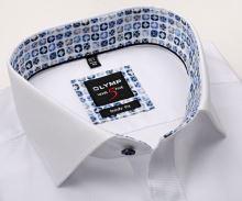 Koszula Olymp Level Five – biała o delikatnej strukturze z niebiesko-beżową wewnętrzną plisą - extra długi rękaw