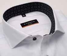 Koszula Eterna Slim Fit Twill - biała luksusowa z szaro-czarną stójką wewnętrzną