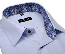 Koszula Eterna Comfort Fit – jasnoniebieska o delikatnej strukturze z wewnętrzną stójką - krótki rękaw