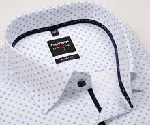 Koszula Olymp Level Five jodelka – biała z niebieskim wzorem i wewnętrzną plisą - extra długi rękaw
