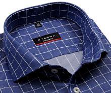 Koszula Eterna Modern Fit Twill – niebieska z wplecioną białą kratką