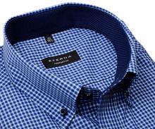 Koszula Eterna Comfort Fit – w niebieską kratkę z wewnętrznym kołnierzykiem - krótki rękaw