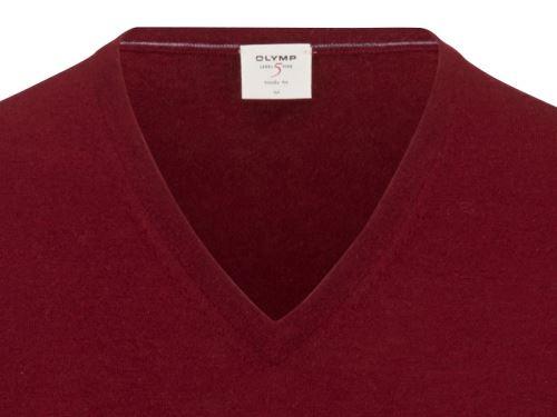 Sweter Olymp Level Five z wełny merino z domieszką jedwabiu - ciemnoczerwony - dekolt w serek