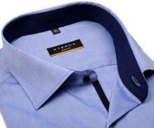 Koszula Eterna Slim Fit Chambray – niebieska z kołnierzykiem wewnętrznym, mankietami i plisą