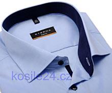 Koszula Eterna Slim Fit Chambray – jasnoniebieska z stojką wewnętrzną - super długi rękaw