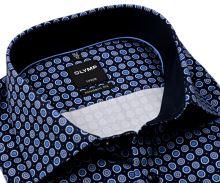 Koszula Olymp Modern Fit – ciemnoniebieska z niebiesko-białymi kołami - extra długi rękaw