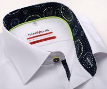 Koszula Marvelis Modern Fit – biała z designową stojką wewnętrzną, mankietem i plisą