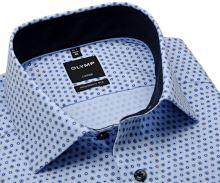 Koszula Olymp Modern Fit – jasnoniebieska w niebieskie wzory z wewnętrzną stójką - extra długi rękaw