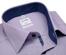 Koszula Olymp Comfort Fit – fioletowa z wewnętrzną ciemnoniebieską stójką - krótki rękaw