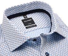 Koszula Olymp Modern Fit – jasnoniebieska z niebiesko-brązowym wzorem