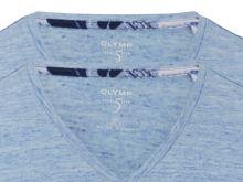 Jasnoniebieski lniany t-shirt Olymp Level Five z krótkim rękawem - dekolt V - korzystny zestaw 2 szt