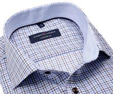 Koszula Casa Moda Comfort Fit Premium – z niebiesko-brązowym wzorem kratki z wewnętrzną stójką