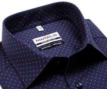 Koszula Marvelis Comfort Fit - granatowa z delikatną strukturą i czerwymi rombkami