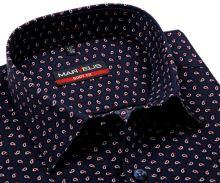 Koszula Marvelis Body Fit – ciemnoniebieska z czerwono-białym wzorem - extra długi rękaw