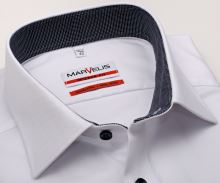 Koszula Marvelis Modern Fit – biała z delikatną strukturą i wewnętrzną stójką - krótki rękaw