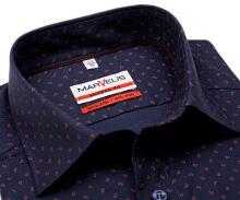Koszula Marvelis Modern Fit – ciemnoniebieska z delikatną strukturą i czerwonym wzorem - extra długi rękaw