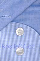 Koszula Olymp Level Five – w jasnoniebieską krateczkę z kołnierzykiem i mankietami