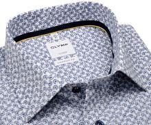 Koszula Olymp Comfort Fit – biała z ciemnoniebieskim okrągłym wzorem - krótki rękaw