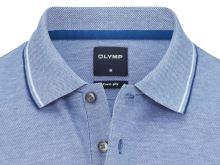 Polo koszulka Olymp z kołnierzykiem - niebieska z białą siateczką