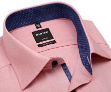 Koszula Olymp Modern Fit – jasnoczerwona z wewnętrzną ciemnoniebieską stójką - krótki rękaw