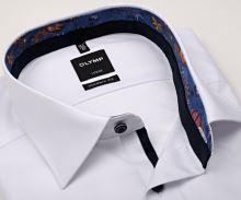 Koszula Olymp Modern Fit – biała z delikatnym wyszytym prążkem i kolorową wewnętrzną stójką