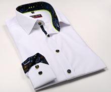 Koszula Marvelis Body Fit – biała z designerską stójką wewnętrzną, mankietami i plisą