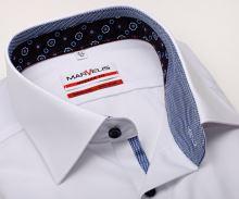 Koszula Marvelis Modern Fit – biała z niebiesko-bialą stojką wewnętrzną, mankietem i plisą