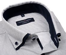 Koszula Casa Moda Comfort Fit Premium – w ciemnoniebieski wzór siatki z podwójnym kołnierzem