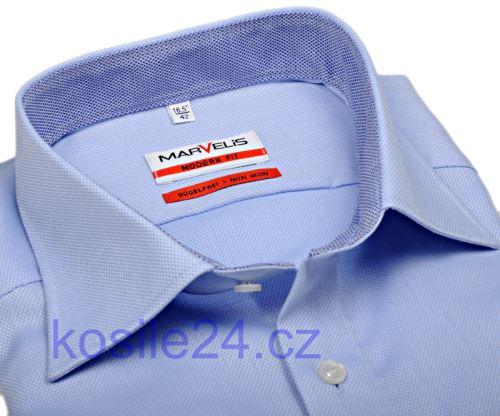 Luksusowa koszula Marvelis Modern Fit – jasnoniebieska ze strukturą, kołnierzykiem i mankietami